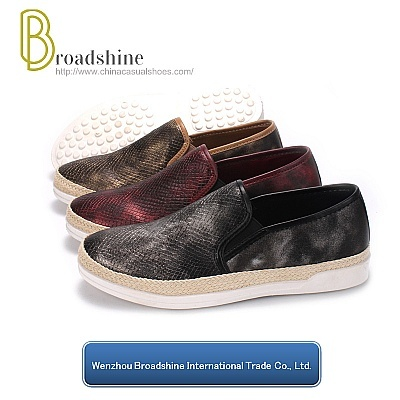 Reorder Animals Skin Pattern PU Injection Woman Shoe with Hemp Rope Foxing