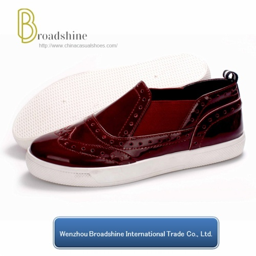 Classic Brogue Style Women's Shoes with Patent PU Upper
