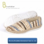 Slip-on Women Casual Footwear with Stripe Jute Material