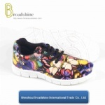 Colorfule Printing PU Women Shoes with PVC Outsole
