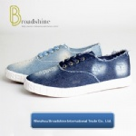 Washed Jean Canvas Shoes for Girls with Embossed Foxing