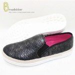 Reorder Snakeskin Pattern PU Injection Flats Shoes with Hemp Rope Foxing